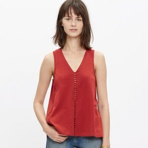 Madewell Eyelet Inset Tank in Red